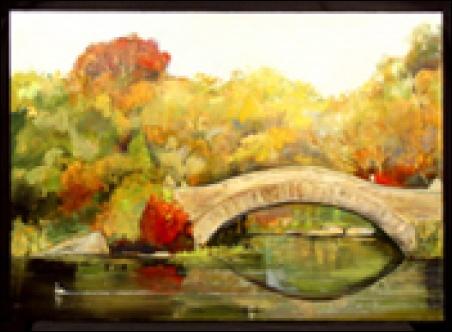 "Madelyn Jordon Fine Art Lawrence Kelsey - ""New York Idyll: Scenes of Central Park"" Bridge with Swan"
