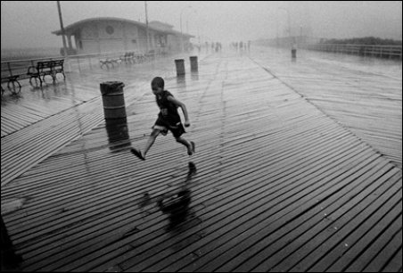 Madelyn Jordon Fine Art By The Sea Harvey Stein; Running Boy in Rain
