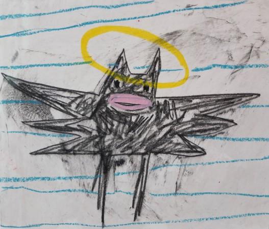 Madelyn Jordon Fine Art 2016, in with a POP!  ADAM HANDLER Bat on wallpaper