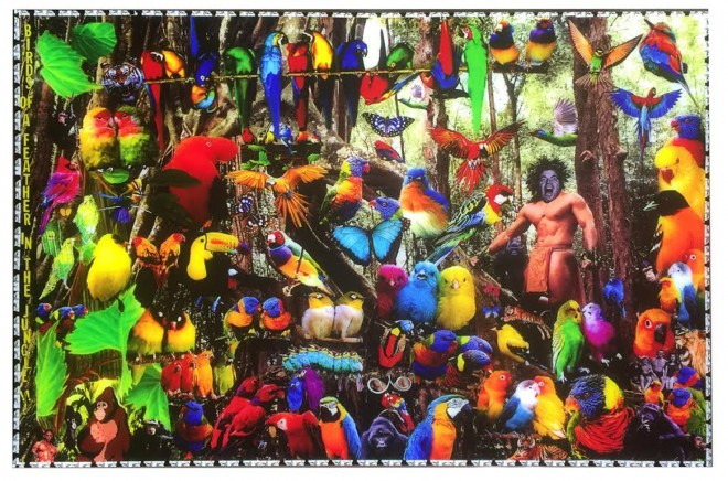 "Madelyn Jordon Fine Art 3D Holiday DJ Leon, ""Birds of a Feather in the Jungle"""