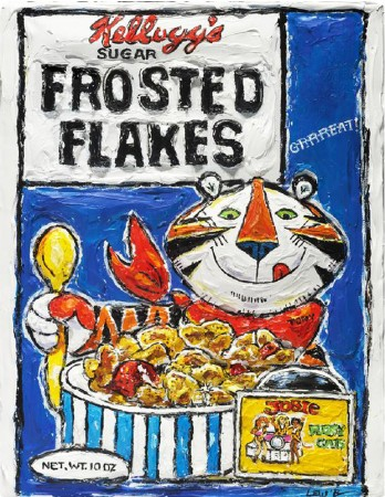 "Madelyn Jordon Fine Art 3D Holiday LESLIE LEW, ""Frosted Flakes- They're GRRRREAT!"""