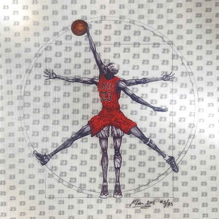 "Madelyn Jordon Fine Art 3D Holiday KENG LAU, ""Vitruvian Athlete Basketball"""