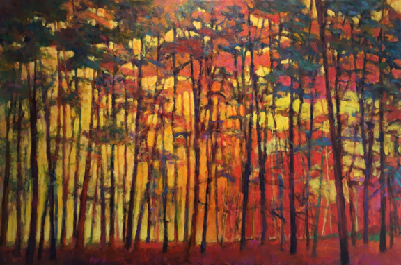 Madelyn Jordon Fine Art IN DIALOGUE Ken Elliott, Brightly Lit Woods