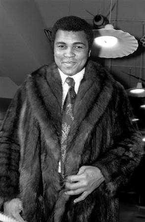 Madelyn Jordon Fine Art ALLAN TANNENBAUM: GRIT AND GLAMOUR Muhammed Ali modeling a fur coat