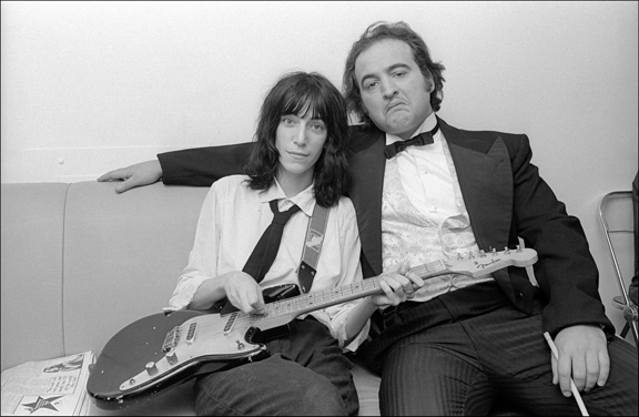 Madelyn Jordon Fine Art ALLAN TANNENBAUM: GRIT AND GLAMOUR Patti Smith and John Belushi backstage at Saturday Night Live