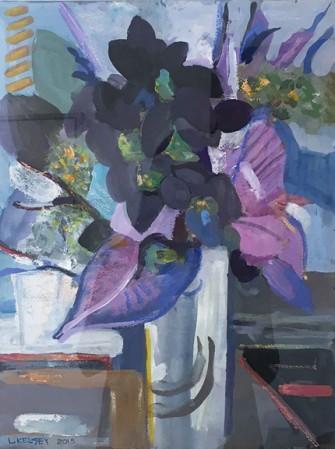 Madelyn Jordon Fine Art IN DIALOGUE Lawrence Kelsey, Flowers Violet, Blue & Black