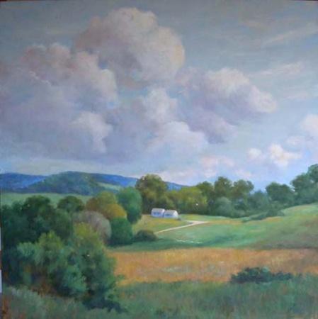 Madelyn Jordon Fine Art Lucy Reitzfeld Untitled Landscape (Two Barns)