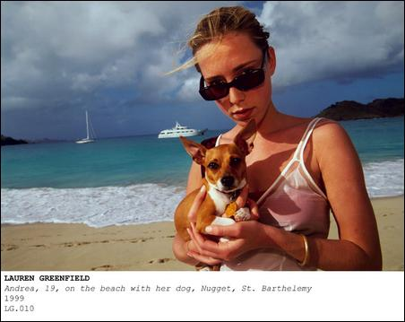 "Madelyn Jordon Fine Art Lauren Greenfield ""Andrea,19, on the beach with her dog, Nugget, St. Barthemlemy, 1999"