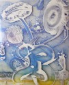 Madelyn Jordon Fine Art Catherine Howe        Reverse Mylar Painting, Two Blue Compositions (1)