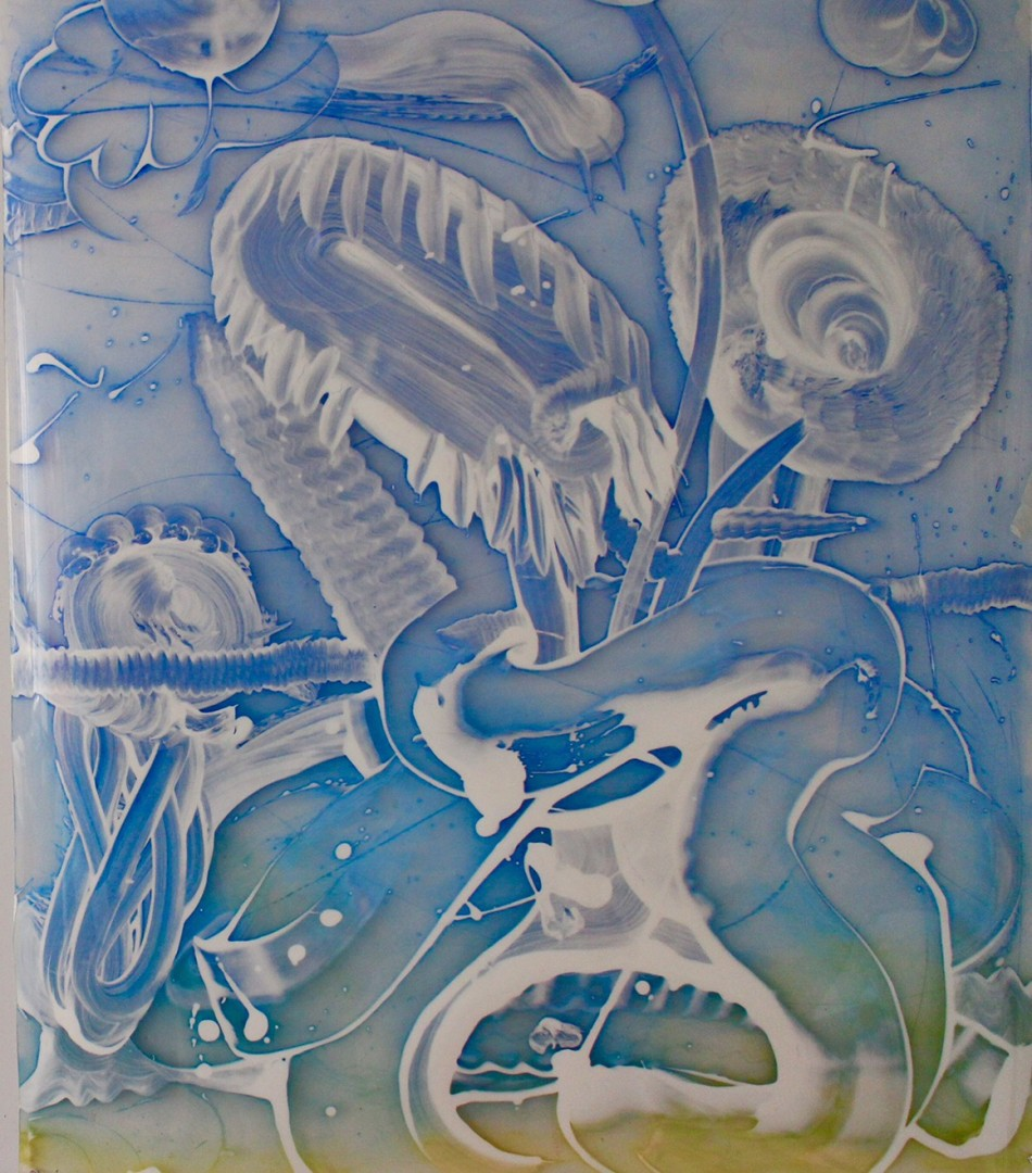 Madelyn Jordon Fine Art Catherine Howe Reverse Mylar Painting, Two Blue Compositions (2)