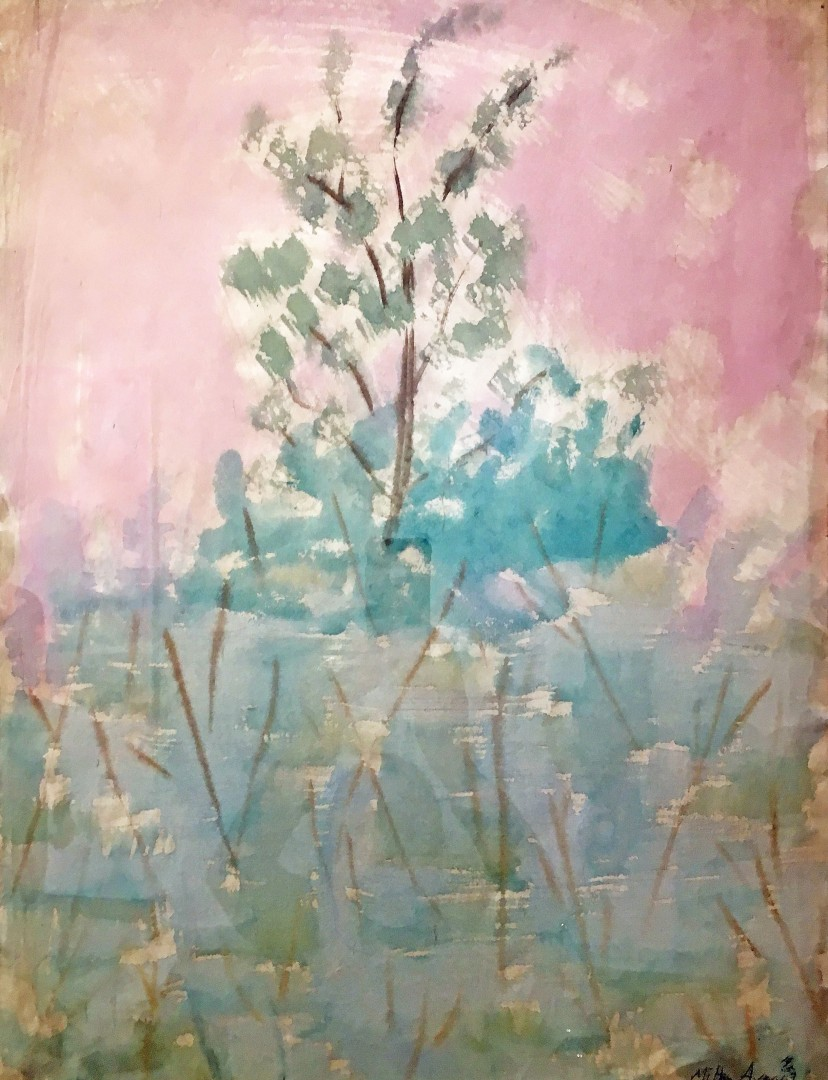 Madelyn Jordon Fine Art STAGING NATURE: A WORLD UNTO ITSELF Trees With Mauve Sky