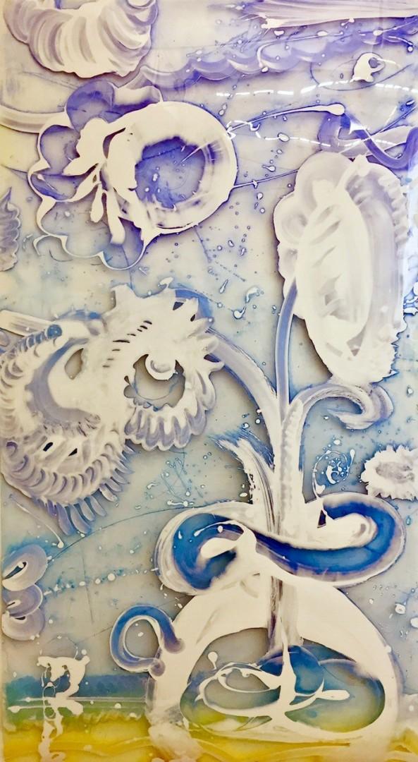 Madelyn Jordon Fine Art Catherine Howe Reverse Mylar Painting, Ultra-blue Pitcher